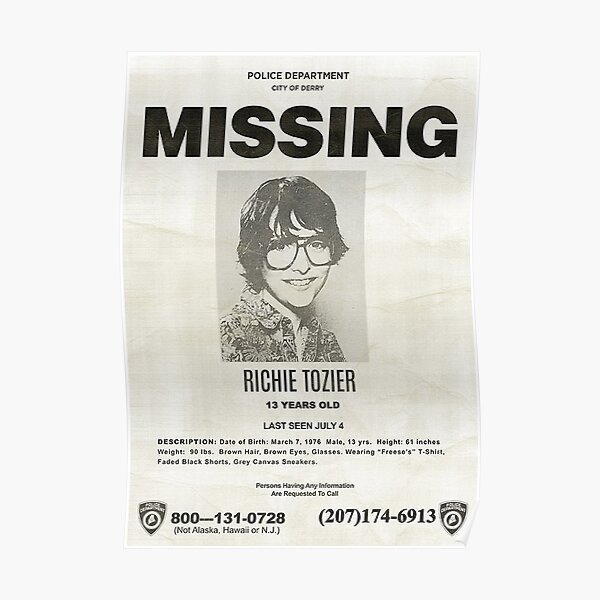 IT RICHIE TOZIER FINN WOLFHARD MISSING POSTER Poster RB3004product Offical Stranger Things Merch